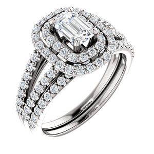 Moores Custom Made Double Halo Style Emerald Cut Diamond Engagement Ring