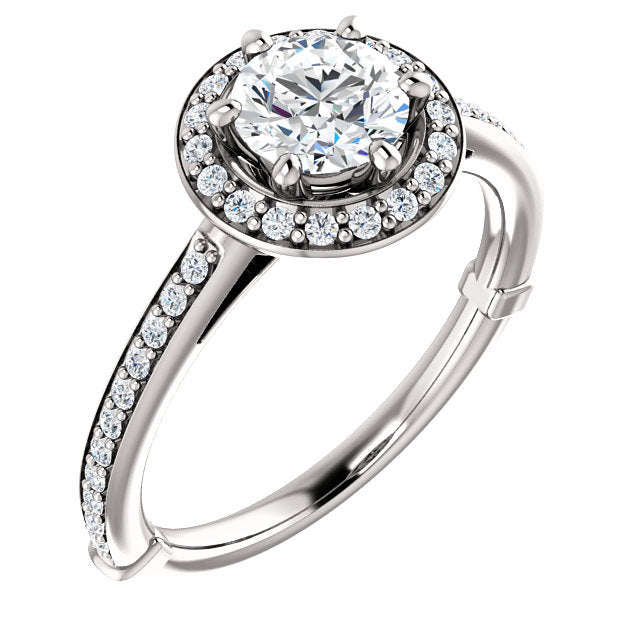 Moores Platinum & Diamond Halo Style Engagement Ring