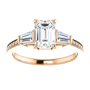 Custom Made Emerald Cut Solitaire Engagement Ring by Moores