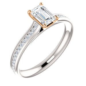 Moores Custom Made Emerald Cut Diamond Engagement Ring