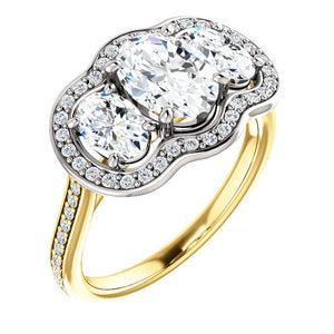 Moores Halo Style Custom Made Graduated Three Stone Ring