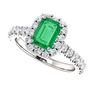 Platinum, Emerald & Diamond Halo Style Ring