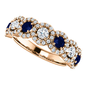 Custom Made Seven Stone Halo Sapphire & Diamond Ring by Moores