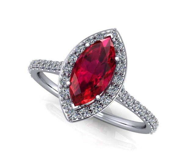Moores Custom Made Marquise Shaped Halo Ruby & Diamond Ring