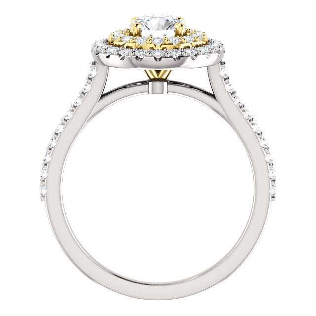 Moores Custom Made Double Halo Two Tone Diamond Engagement Ring