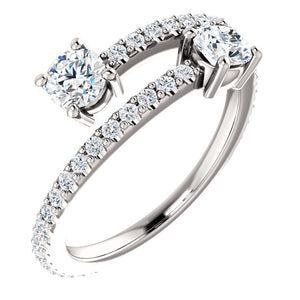 Moores Two Stone Bypass Style Engagement Ring