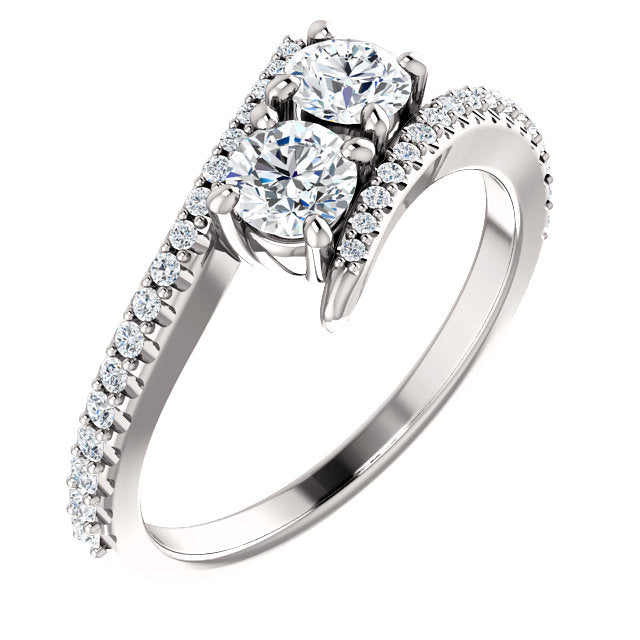 Moores Custom Made Two Stone Diamond Engagement Ring