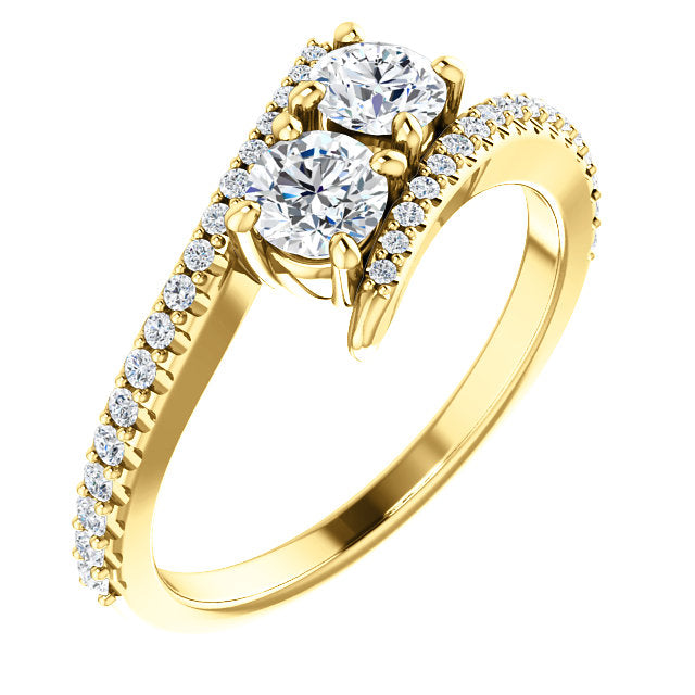 diamond ring tone wedding two gold mckenzie rose smiley engagement rings jewelers
