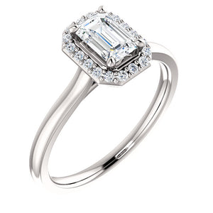 Bespoke Halo Style Emerald Cut Diamond Engagement Ring by Moores