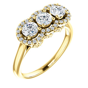 Custom Made Halo Style Three Stone Ring By Moores