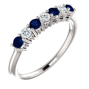 Custom Made Seven Stone Sapphire & Diamond Ring by Moores