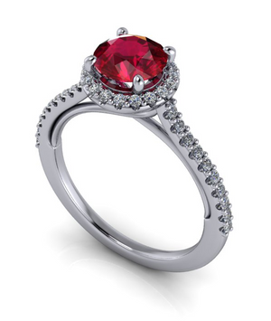 Moores Custom Made Ruby and Diamond Halo Style Ring