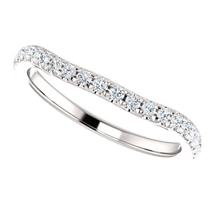 Moores Shaped Platinum and Diamond Wedding Ring