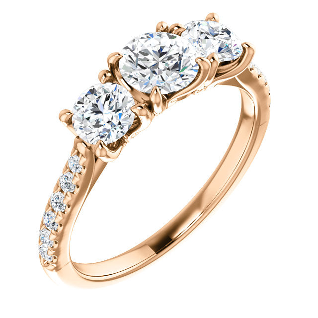 trilogy ring gold engagement cut stone brilliant diamond white three