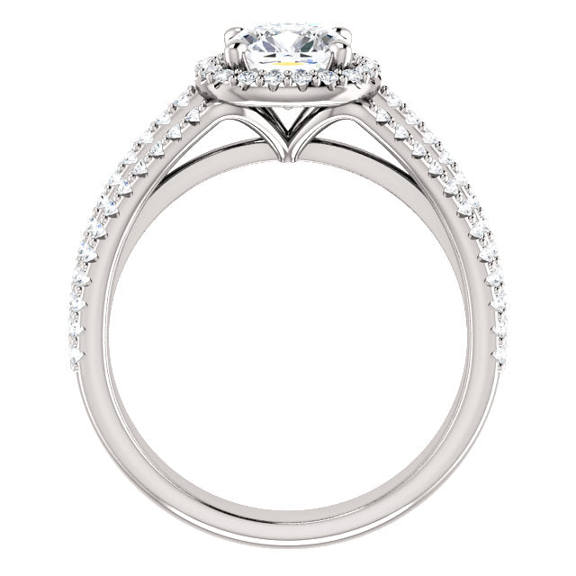 Custom Made Three Strand Halo Cushion Cut Diamond Ring by Moores