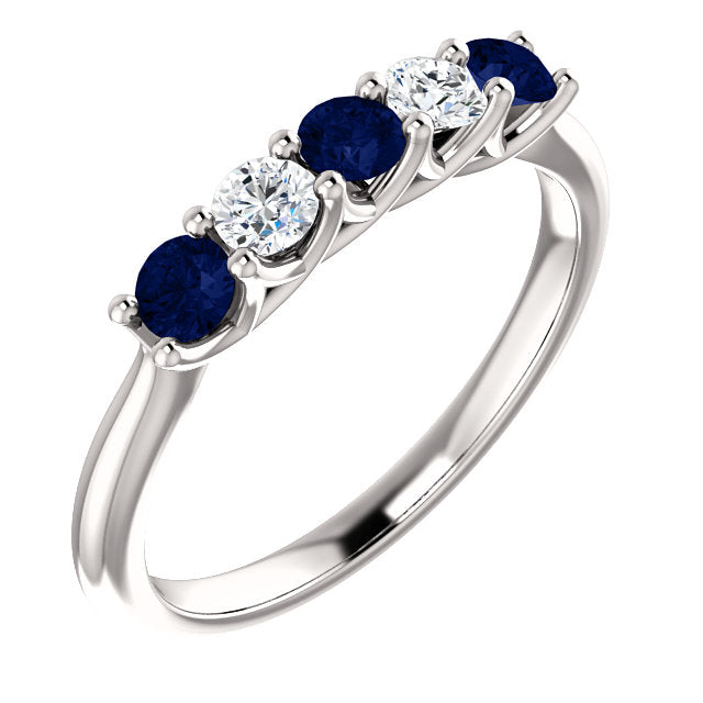 Custom Made Sapphire & Diamond Five Stone Ring