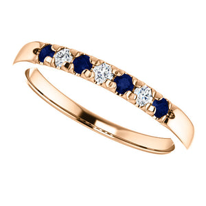 Custom Made French Set Sapphire & Diamond Seven Stone Ring by Moores