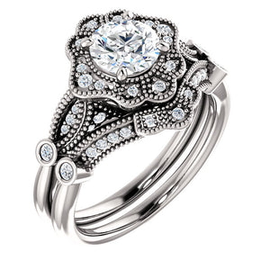 Moores Custom Made Vintage Style Halo Engagement Ring