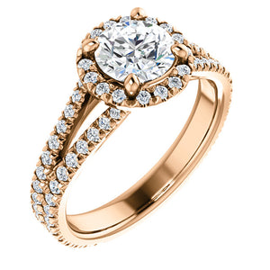 Custom Made Split Shank Halo Style Diamond Engagement Ring by Moores