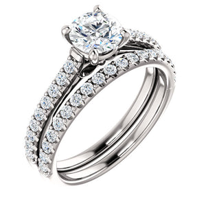 Moores Two Tone Solitaire Engagement Ring with Diamond Set Shoulders