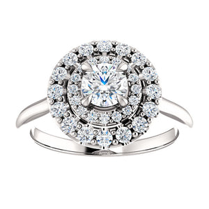 Moores Graduated Double Halo Two Tone Engagement Ring