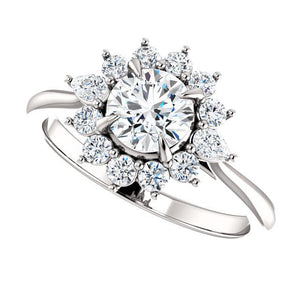 Platinum & Diamond Halo Engagement Ring by Moores