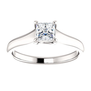 Moores Custom Made Princess Cut Solitaire Diamond Engagement Ring