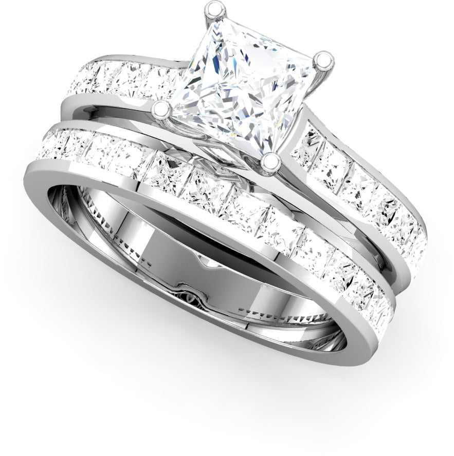 Moores Custom Made Princess Cut Engagement & Wedding Ring Set