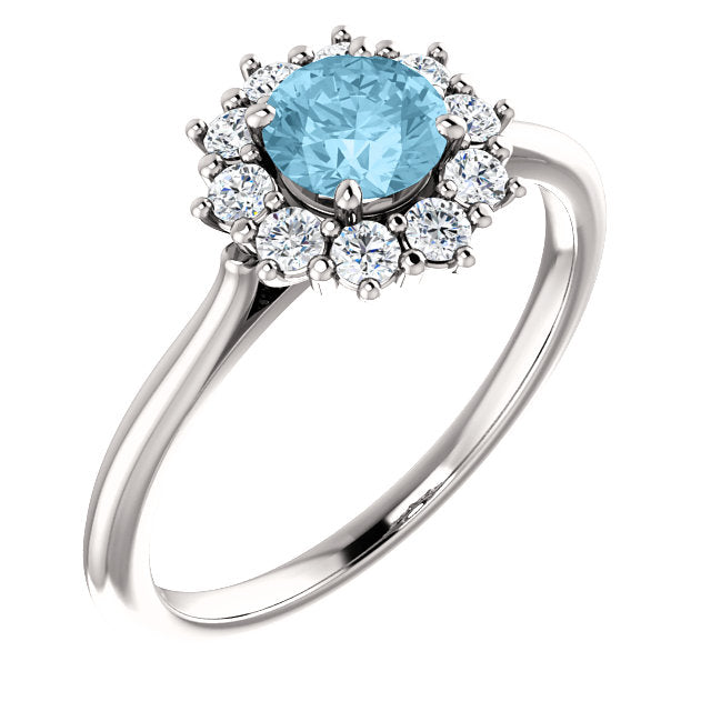 Moores Custom Made Halo Style Aquamarine Ring