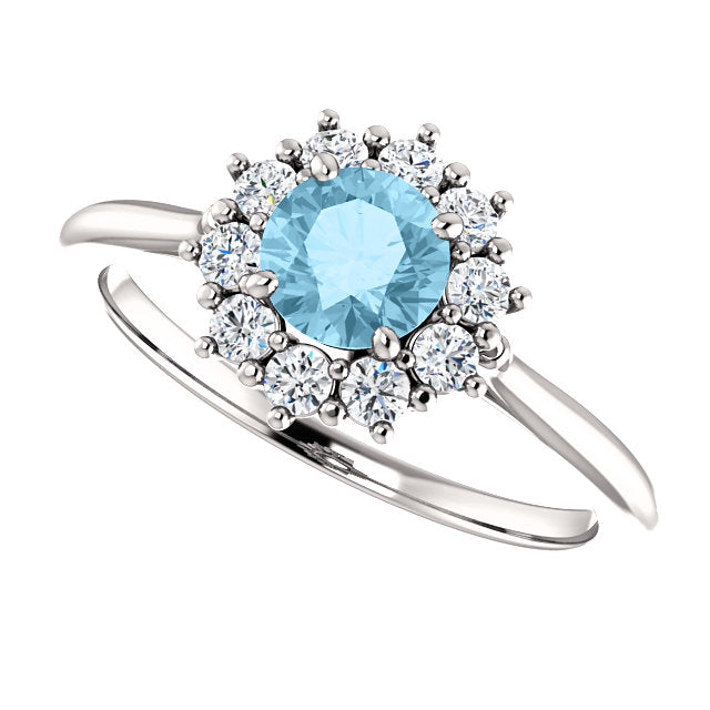 engagement aquamarine pave aqua micro ring rings