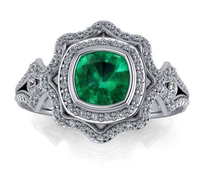 Custom Made Vintage Style Emerald & Diamond Ring by Moores