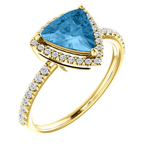 Moores Bespoke Swiss Blue Topaz & Diamond Halo Style Ring
