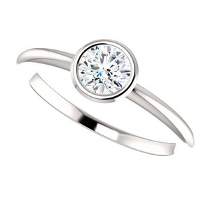 Moores Custom Made Bezel Set Solitaire Engagement Ring