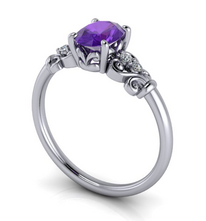 Moores Custom Made Amethyst & Diamond Ring