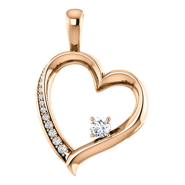Moores Custom Made Heart Shaped Diamond Pendant