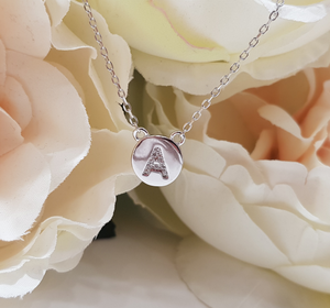 Sterling Silver Stone Set Initial Pendant & Chain - Letter A
