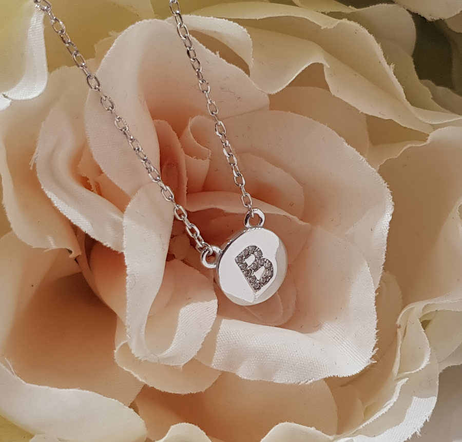 Sterling Silver Stone Set Initial Pendant & Chain - Letter B