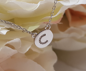 Sterling Silver Stone Set Initial Pendant & Chain - Letter C
