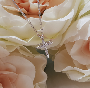 Childrens Sterling Silver and CZ Cross & Chain