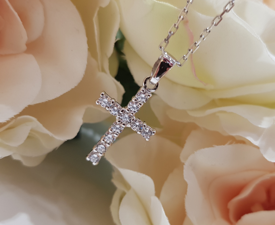 Children's Sterling Silver & Cubic Zirconia Cross & Chain