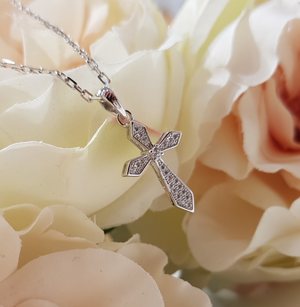 Children's Sterling Silver & CZ Cross and Chain