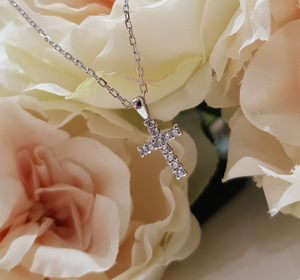 Children's Sterling Silver and Cubic Zirconia Cross & Chain
