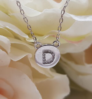 Sterling Silver Stone Set Initial Pendant & Chain - Letter D