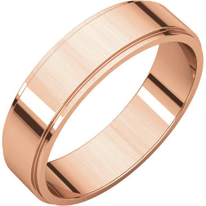 Moores Flat Edge 5mm Wide Wedding Ring