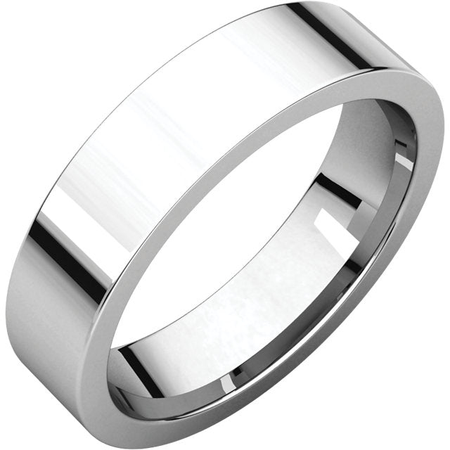 Moores Flat Comfort Fit 5mm Wide Wedding Ring