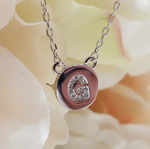 Sterling Silver Stone Set Initial Pendant & Chain - Letter G
