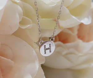 Sterling Silver Stone Set Initial Pendant & Chain - Letter H