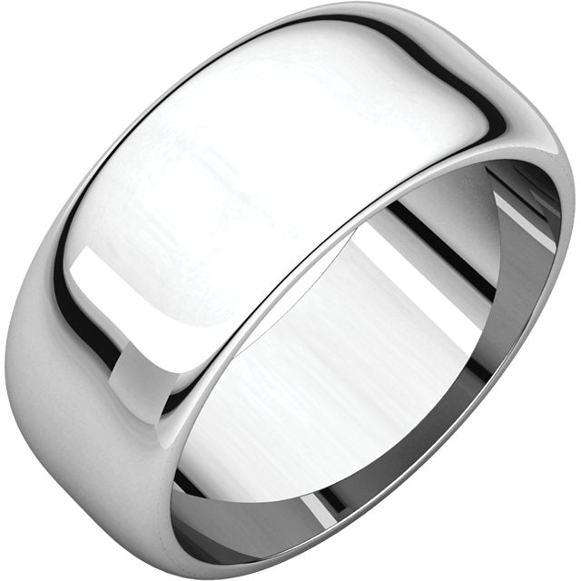 Moores Half Round 8mm Wide Wedding Ring