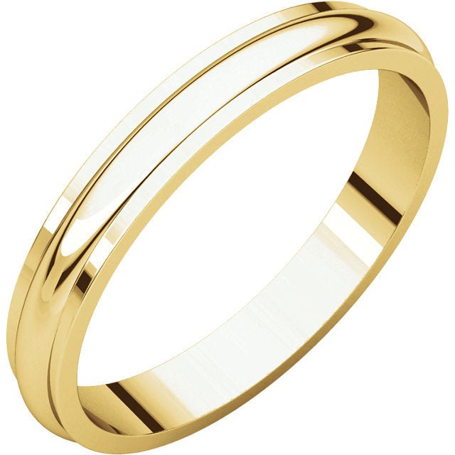 Moores Half Round Edge 3mm Wide Wedding Ring