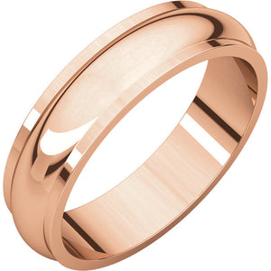 Moores Half Round Edge 5mm Wide Wedding Band